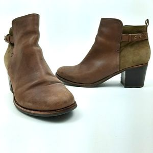 SPERRY Ambrose Brown and Olive Leather Boots 9